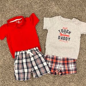 Carter's Matching Sets - Bundle of boys red white and blue shorts & shirts